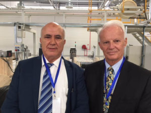 Mr. Peter Schultz and Mr. Khaouja Ahmed at the inauguration of the OFS factory in Tangier on May 9, 2018.
